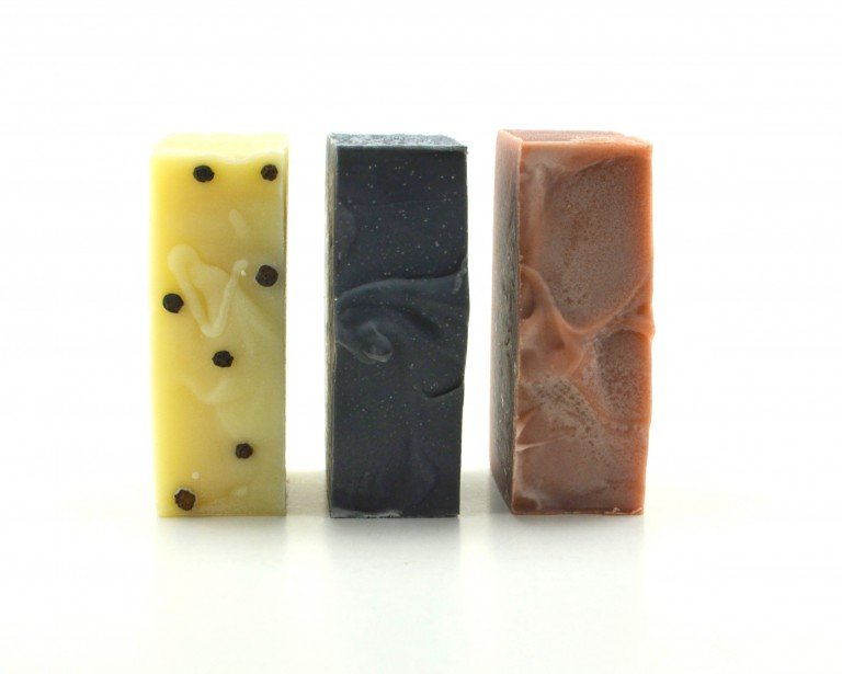 handcrafted organic soap with essential oils and natural colorants