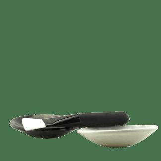 mask brush and handmade bowls