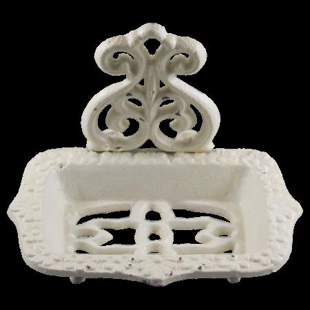cast iron whitewashed shabby chic soap dish