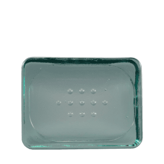 recycled blue-green glass soap dish