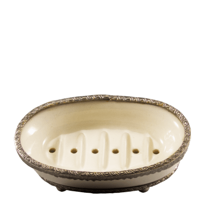 porcelain clay soap dish with indian silver accents and feet